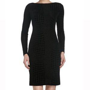 GUESS Crocodile Skin Print Midi Black Dress